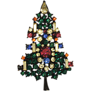 REDUCED Japanned Candle & Garland Christmas Tree Pin ~ Book Piece