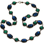 """REDUCED Accessocraft N.Y.C. 1960's Blue & Green Glass Sautoir Necklace ~ 28"""""""