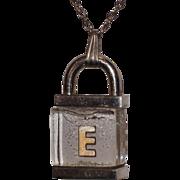 Trifari Sterling & Lucite Padlock Letter E Pendant Necklace