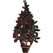 REDUCED Original By Robert Red Glass Topiary Christmas Tree Pin, Book Piece