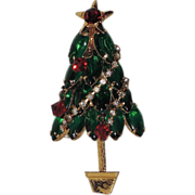 Glass, Rhinestone Garland & Crystal Ornaments Christmas Tree Pin ~ Book PIece