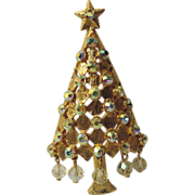 Mylu Dangling Crystals Christmas Tree Pin ~ Book Piece