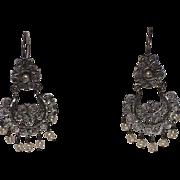 SALE Taxco Sterling Filigree & Baroque Seed Pearls Chandelier Earrings