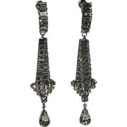 REDUCED RARE Vendome 1960's Baguette Rhinestone Chandelier Earrings