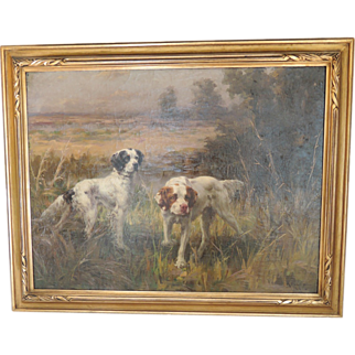 SALE 1906 English Setter Dogs Oil Painting by Percival Leonard Rosseau (American, 1859-1937)
