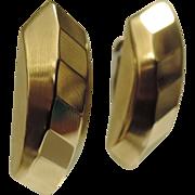 REDUCED Italy Mid Century Modern 14K Gold 3D Geometric Earrings