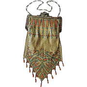 REDUCED Art Deco Mandalian Lustro Pearl Drop Fringe Mesh Purse ~ Rare Fall Colors; Double Mosa