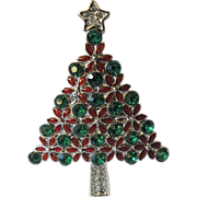 Poinsettia Christmas Flower Rhinestone & Enamel Tree Pin
