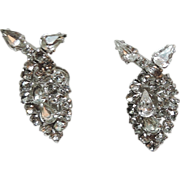 Kramer of New York 1950's Clear Rhinestone Tear Drop Earrings