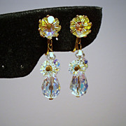 Vintage Aurora Borealis Margarita Crystal Drop Earrings