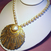 Vintage Accessocraft Long Faux Baroque Pearl Necklace Large Shell Pendant