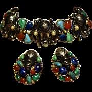 Vintage Signed ART Colorful Cabochon Stone Mask Bracelet Earrings Demi Parure