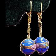 Vintage Blue Venetian Wedding Cake Glass Bead Long Drop Earrings