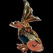 Vintage Marcel Boucher Phrygian Cap Green Glass Belly Fish Sterling Brooch