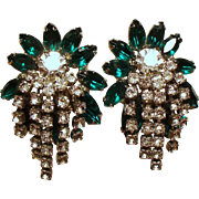 Vintage Hattie Carnegie Green Navette Rhinestone Cascading Earrings