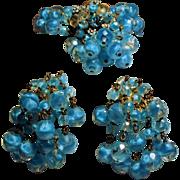 Vintage Hattie Carnegie Heavenly Blue Givre Bead Bracelet Ornate Drippy Clasp Earrings Demi ..