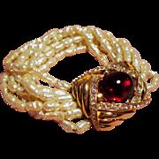 Vintage Ciner Simulated Fresh Water Pearl Multiple Strand Bracelet Huge Faux Ruby Cabochon ...