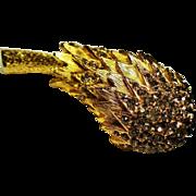 Vintage Castlecliff Smoky Rhinestone Flower Head Brooch