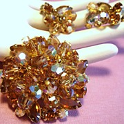 Vintage D&E Juliana Rhinestone Drippy Bead Brooch Earrings Demi Parure
