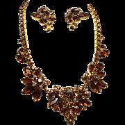 Vintage D&E Juliana Topaz Navette Rhinestone Cluster Necklace Earrings Demi Parure