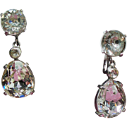 Vintage Eisenberg Large Faceted Rhinestone Pear Tear Drop Earrings