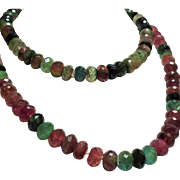 Vintage Estate Faceted Watermelon Colored Tourmaline Bead Long Necklace