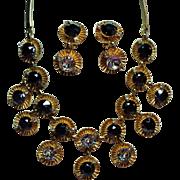 Vintage Hobe Black Diamond Rhinestone Huge Crystals Drop Necklace Earrings Demi Parure