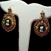 Antique Victorian Sardonyx Hard Stone Cameo Seed Pearl 14K Drop Earrings
