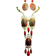 Vintage Incredible Egyptian Revival Huge Red Mosaic Stone Long Necklace Drop Earrings Demi ...
