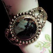 Vintage Native American Moss Agate Sterling Cuff Bracelet