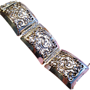 Vintage Napier Ornate Wide Panel Silver Plate Bracelet