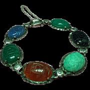 Vintage Egyptian Revival Carved Natural Stone Scarab Sterling Bracelet