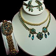 Vintage Original By Robert Faux Aqua Jewels Filigree Necklace Bracelet Earrings Parure