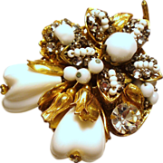 Vintage Original By Robert Fruit & Flowers Crystals Beads Brooch