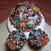 Vintage Exquisite Pate De Verre Glass Brooch Earrings Demi Parure
