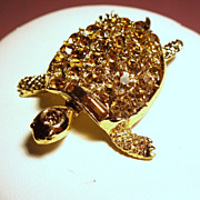 Vintage Pell Sea Turtle Rhinestone Shell Brooch