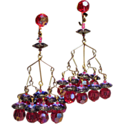 Vintage Raspberry Bead & Purple Margarita Aurora Borealis Crystal Chandelier Earrings