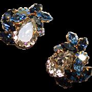 Vintage Austria Schoffel Crystal Clear Pear & Sapphire Blue Navette Rhinestone Earrings