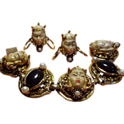 Vintage Selro Selini Asian Princess Chunky Bracelet Earrings Set