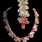 Vintage Sterling Flower Choker Necklace Wide Bracelet Demi Parure