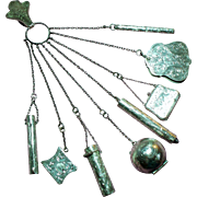 Antique Late Victorian R. Blackinton Eight Piece Complete Sterling Chatelaine