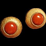Vintage St. John Faux Carnelian Earrings