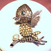 Vintage Tortolani Pewter Faux Pearls Rhinestones Birdy Brooch