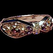 Vintage Trifari Shades Of Lilac Rhinestone Hinged Bangle Bracelet