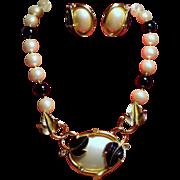 Vintage Kunio Matsumoto Trifari Faux Pearls Leaves Necklace Earrings Demi Parure