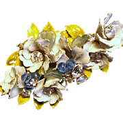 Vintage Original By Robert Enamel Flowers Rhinestones Beads Brooch