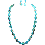 Vintage Vogue Aqua Millefiore Glass Bead Necklace Drop Earrings Demi Parure