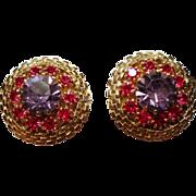 Vintage Weiss Purple Fuchsia Rhinestone Earrings
