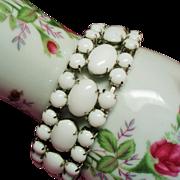 Vintage White Milk Glass Cabochon Rhinestone Bracelet
