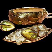 Vintage Whiting & Davis Molded Glass Leaf Parure